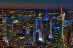New York Skyline from Empire State Building at Night , New York   Flickr - Photo Sharing!