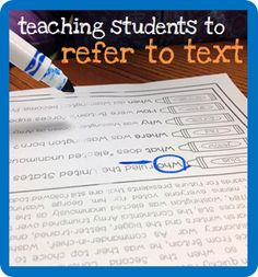 Teaching Kids to Go Back In the Text When Answering Comprehension Questions