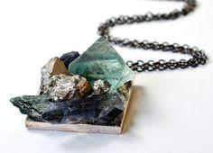 """Super Minerals """"Crystal Gardens"""" Pendant with Fluorite, Mystic Titanium Quartz, Pyrite, Apatite, Lepidolite, and Hessonite Garnet."""