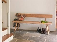 Simple wood bench with back. Love it!