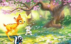This Disney wallpaper is based on the 1942 Disney movie, Bambi. Here you see Bambi and his friends, Thumper and Flower, enjoying the beautiful scenery of the forest. though Bambi seems a little distracted by a butterfly. Cartoon Wallpaper, Bambi Wallpaper, Disney Desktop Wallpaper, Spring Wallpaper, Cute Disney Wallpaper, Tinkerbell Wallpaper, Desktop Backgrounds, Bambi Disney, Film Disney