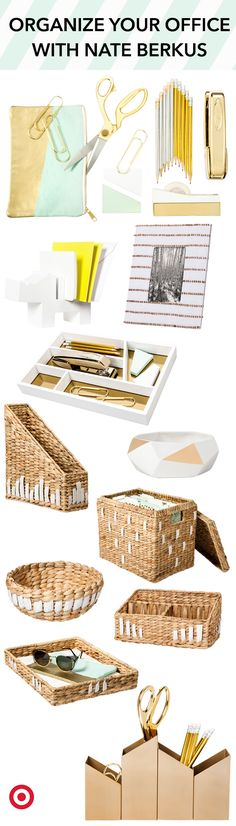Need an office makeover? Look no further than Nate Berkus' stylish, budget-friendly, office supplies. Your cubicle will never look so chic!