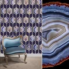 "The beauty of blue Botswana Agate is celebrated in the new ""Botswana Agate Grille"" wallcovering designed by Kimberly McDonald for Circa Wallcovering with a metallic gold grille motif on iridescent navy ground. #wallpaper #wallcovering #gemstones #style #design #interiordesign #blue #decor #kimberlymcdonald #walls"