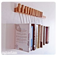 hanging book rack with bookmark pins
