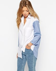 ASOS - Chemise boyfriend color block