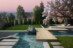 House & garden on a steep terrain on Behance Home And Garden, Landscape, Outdoor Decor, Modern, House, Garage, Behance, Carport Garage, Scenery
