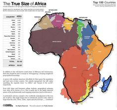 The True Size of Africa - 2D maps often distort the size of land mass as you move away from the equator, making Africa look relatively small, but it is indeed massive