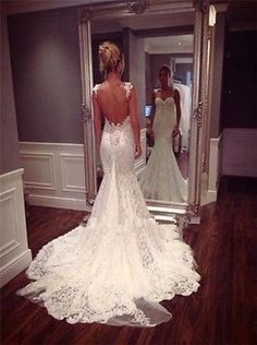 2014Fall Spaghetti Straps Open Back Fancy Lace Mermaid Bridal Wedding Dress Gown