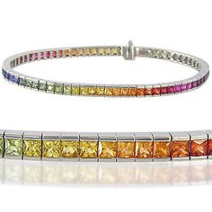Multicolor Rainbow Sapphire Tennis Bracelet 14K White Gold (8ct tw) : sku BRC225-24-14k-wg by RainbowSapphire on Etsy https://www.etsy.com/listing/92099444/multicolor-rainbow-sapphire-tennis