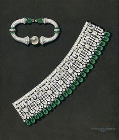 Manchette bracelet & rigid bracelet drawing, 1925, Van Cleef & Arpels' Archives