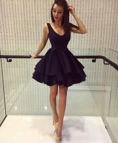 Cute Backless Ruffles Homecoming Dress Short Mini Prom Dresses Ball Gowns,v neck homecoming dress