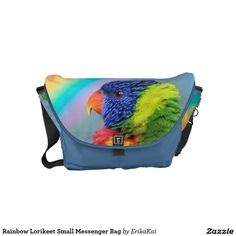 Rainbow Lorikeet Parrots Small Rickshaw Messenger Bag. Water resistant, extra durable. Interior and binding 20 color options.