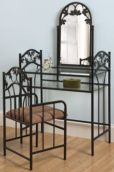 Fingerhut   Black Metal Scroll Leaf Vanity Set With Mirror