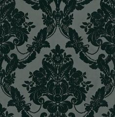 Palais Black Velvet (980609) - Sophie Conran Wallpapers - A traditional regal style floral velvet flock with bouquets of blooms set in diamond shapes.  Shown in the rich black colour. Please ask for sample for true colour match.