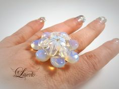 Opalite flower ring by Laurelisbijoux on Etsy, $8.99