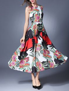 Shop Midi Dresses - Floral-print Crew Neck Sleeveless Elegant Midi Dress online. Discover unique designers fashion at StyleWe.com.