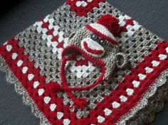 Sock Monkey Hat and Matching Baby Blanket – Crafty Cori Strikes Again Crochet Afghans, Crochet Socks, Crochet Bebe, Crochet For Boys, Crochet Baby Hats, Crochet Blanket Patterns, Love Crochet, Crochet Granny, Baby Blanket Crochet