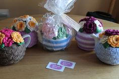 flower pots and baskets.