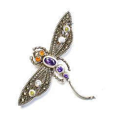Vintage Dragonfly Brooch Stellar Petite Amethyst Marcasite Carnelian gem & CZs  Beautifully crafted. 1.3 x 1.75/ 32.7 x 44 mm silvermoonstars.etsy.com