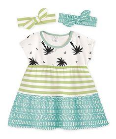 Another great find on #zulily! Green Stripe A-Line Dress & Headband Set - Infant & Toddler #zulilyfinds