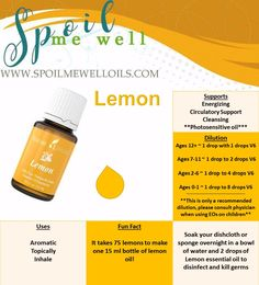 Lemon Essential Oil, Young Living Essential oils, all natural living, dilution ratios