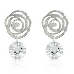 Rosey Posey Earrings.  Rhodium and Diamond CZ's.  #fashionjewelry  #homeparties  #homeparty