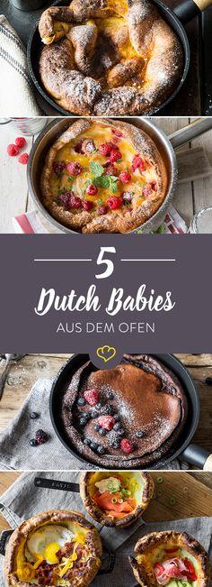 Gibst du Pfannkuchen in den Ofen werden sie zu Dutch Babies und unglaublich fluffig. Wir zeigen dir schokoladige, fruchtige und herzhafte Variationen. Dutch Oven Camping, Oven Cooking, Fire Cooking, Dutch Pancakes, Dutch Baby Pancake, Breakfast Pancakes, Beignets, Dutch Oven Recipes, French Recipes