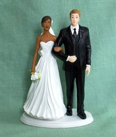 Interracial couple wedding cake toppers