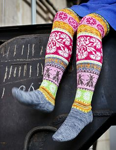 Ravelry: Loistavat niityt – Great Meadows (Muhu Socks) pattern by Tiina Kaarela Crochet Socks, Knitting Socks, Hand Knitting, Knitting Patterns, Knit Crochet, Crazy Socks, My Socks, Knee Socks, Knit Stockings
