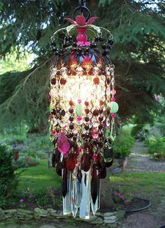 Bohemian Gypsy Crystal Petite Chandelier: Handmade on Etsy. drape colorful chiffon and add twinkle lights. Beautiful ideas for cheap.