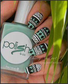 nail art azteque aztec ethnique facile