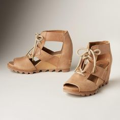 """JOANIE LACE SANDALS--Rugged, gladiator-inspired sandals with feminine lines and lace-up fronts for the perfect fit. By Sorel®. Leather. Imported. Whole and half sizes 6 to 10, 11. 2-3/4"""" wedge. These are running 1/2 a size small."""