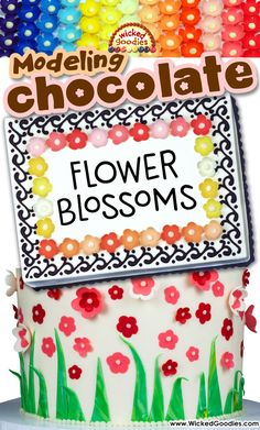 Cake decorating tutorial with instructions on how to form edible flowers with modeling chocolate or fondant by Wicked Goodies Chocolate Car, Chocolate Shapes, Chocolate Flowers, Chocolate Marshmallows, Modeling Chocolate, Fondant Flower Cake, Fondant Bow, Marshmallow Fondant, Fondant Cakes