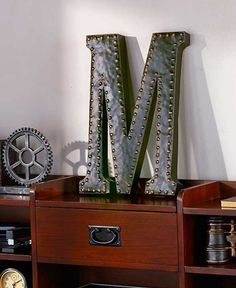 Deck Your Walls Decorative Distressed Metal Letters Nail Head Trim Create Your Monogram Home Boy's Nursery Bedroom Living