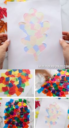 - with leaves for fall - this autumn art activity is so much fun for kids! Make beautiful bleeding tissue paper art with simple step-by-step instructions. We'll show you how to turn it into silhouette art too! Kids Crafts, Fall Crafts For Kids, Projects For Kids, Art For Kids, Diy And Crafts, Arts And Crafts, Kids Diy, Art Crafts, Creative Crafts