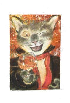 Original Comics illustration, Napoleon Gallery : miscellaneous - The cat painter - with a glass - original illustration by Andreï ARINOUCHKINE -