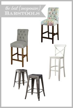 A round-up of inexpensive barstools and counter stools as part of our kitchen makeover including painted cabinets, marble backsplash and brass hardware.