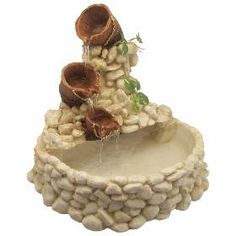 Indoor Waterfall Fountain, Diy Water Fountain, Garden Water Fountains, Modern Water Feature, Diy Waterfall, Clay Art Projects, Tabletop Fountain, Concrete Crafts, Succulent Gardening
