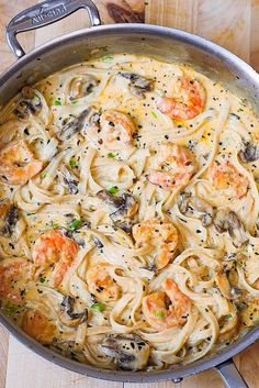 Creamy shrimp and mushroom pasta in a delicious homemade alfredo sauce. All the flavors you want: garlic, basil, crushed red pepper flakes, paprika, Parmesan and Mozzarella cheese. GF Pasta and something not mushrooms (yuck! Fish Recipes, Seafood Recipes, Great Recipes, Cooking Recipes, Favorite Recipes, Healthy Recipes, Shrimp Pasta Recipes, Chicken Recipes, Pasta Recipes