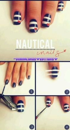 Nails,nautical,blue,red,white,nail art