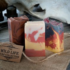 Handmade Wild Life Soap Set: Blazing Saddles Leather Scented Soap, Fire in the Hole Campfire Soap, and Hair of the Dog Whiskey and Coffee Soap