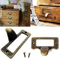 Wish | 6x Antique Brass Drawer Label Pull Cabinet Frame Handle File Name Card Holder