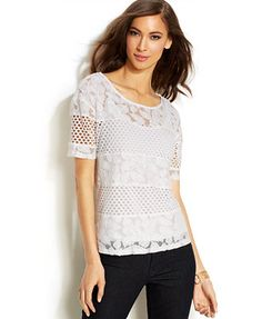 INC International Concepts Lace Mesh-Inset Illusion Tee