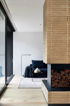 holistic residential architecture and interior design : award winning architects melbourne Living Room Modern, Living Room Designs, Architects Melbourne, Two Sided Fireplace, Light Hardwood Floors, Melbourne House, Apartment Interior Design, Brickwork, Fireplace Design