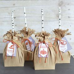 Cute Broomstick Treat Bags created with the September Paper Pumpkin Kit from Stampin& Up! Perfect for party favors! Make some today! Easy Diy Crafts, Diy Craft Projects, Fall Crafts, Diy Crafts For Kids, Craft Ideas, Holiday Crafts, Diy Ideas, Decor Ideas, Halloween Displays