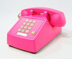 Vintage Phone Neon Pink push button telephone by ohiopicker, $58.00