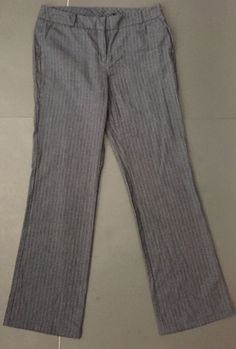 New York And Company Cropped Pants 6 Tall Gray Black Stripes Classy Career Work    eBay