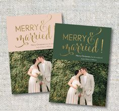 Merry and Married Holiday Card: Photo Card Gold by CJANEdesignshop