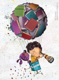 Classe Dojo, School Murals, Reading Art, Jules Verne, Book Images, Whimsical Art, I Love Books, Anime Comics, Cute Illustration