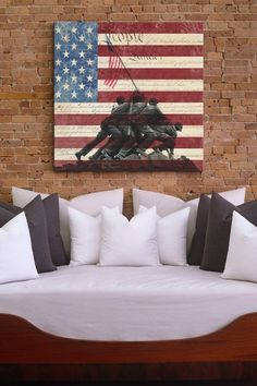 Raising the Flag on Iwo Jima & US Constitution Square Canvas Print by Non Specific on @HauteLook